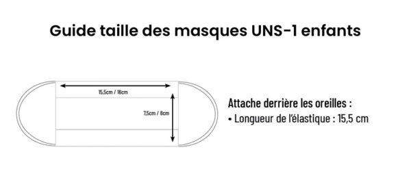 guide tailles masques enfants categorie UNS 1